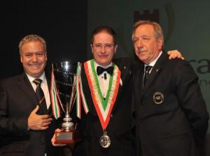 Andrea Balleri Miglior Sommelier d'Italia 2013 con il Presidente Nazionale AIS Antonello Maietta e il Presidente AIS Toscana Osvaldo Baroncelli