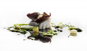 baccala con salsa di asparagi e cedro della sicilia candito